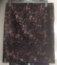 TU BLACK FLORAL LACE OUTER & BEIGE INNER KNEE LENGTH SKIRT - SIZE 14