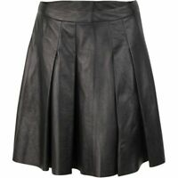 DEREK LAM 10 CROSBY BOX PLEATED FAUX LEATHER SKIRT IN BLACK SIZE 8 NWT $395