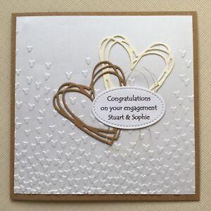 Handmade Personalised Kraft Engagement Card - Hearts