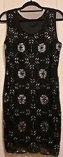 Bnwt (£30) Size 12 Black/Silver Sequin Dress Vintage 1920's Style Flapper (1236)