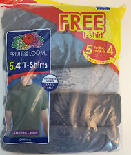 Large T Shirt Fruit of the Loom Men's Crew Neck T-Shirt Multipack Assorted 5 Pk