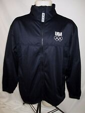 Olympic Black White Sewn Logo Zip Front Jacket Men's Large H490