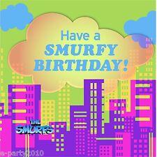 SMURFS LUNCH NAPKINS (16) ~ Birthday Party Supplies Dinner Large Serviettes Blue