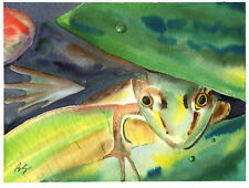 Green Frog and lilly pad 8X10 Watercolor Cottage Decor art print by Barry Singer