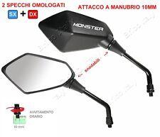 Specchi specchietti moto logo Monster Ducati bianco per 695 2007 + adattatori