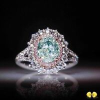 Elegant Women 925 Silver Prehnite Gemstone Wedding Engagement Ring Size 6-10