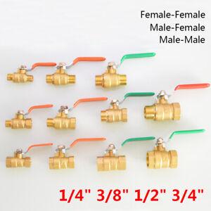 """Brass Lever Ball Valve 1/4"""" 3/8"""" 1/2"""" 3/4"""" BSP Male & Female Thread Full Flow"""