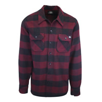 Dickies Men's Wine Red & Black Box Plaid Sacramento L/S Flannel Shirt (S03)