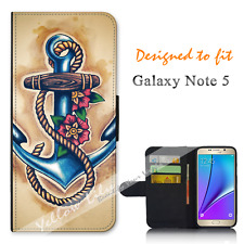 Samsung Galaxy Note 5 Wallet Flip Phone Case Cover Anchor Painting Y00983