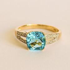 BLUE TOPAZ RING CUSHION CUT BRIGHT BLUE TOPAZ 16 DIAMONDS 9K 375 GOLD SIZE N NEW