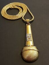 DJ MICROPHONE  ICED OUT HIP HOP 24K GOLD PLATED NECKLACE
