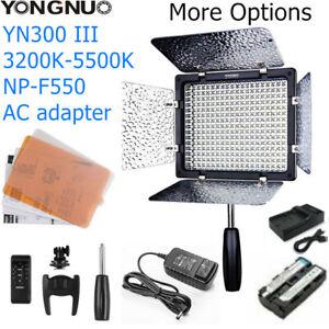 YONGNUO YN300III YN300 III Led video Light 5500K/3200K-5500K+Battery AC Adapter