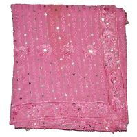 Vintage Dupatta Long Indian Scarf Floral Hand Embroidery Fabric Mauve Veil Stole