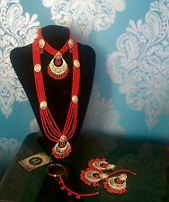 Indian Wedding Bridal  jewellery set, pearls earrings necklace Red beads
