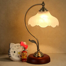 Vintage Retro Loft Table Desk Lamp Light Wooden Base Art Deco Glass Shade