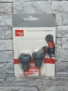 Vacu Vin Vacuum Wine Stoppers *Set of 2 *New and Sealed *Grey