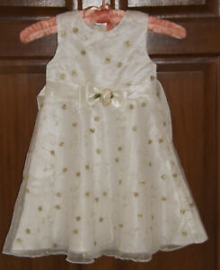 Youngland, Ivory & Gold Party Dress, age 4T USA