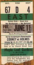 MAPLE LEAF GARDENS COONEY V HOLMES CLOSED CIRCUT FIGHT TICKET 1982 rare on ebay