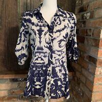 VELVET By Graham Spencer Tab Sleeve Button Up Blouse Silk Blend Blue White