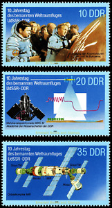 EBS East Germany DDR 1988 - Joint USSR-GDR Space Flight - Michel 3190-3192 MNH**