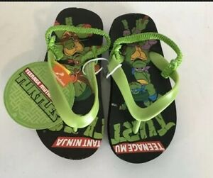 Ninja Turtles Boys Toddler Small Medium Large Black Green Turtles Flip Flops NWT