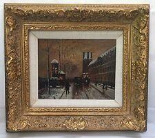 Albert MUNGHARD City Trolley Street Scene ORIG Signed Oil Painting, Gesso Frame