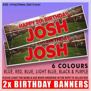 """2 PERSONALISED FOOTBALL BIRTHDAY BANNERS - ANY NAME ANY AGE 36""""x11"""" 914x279mm"""