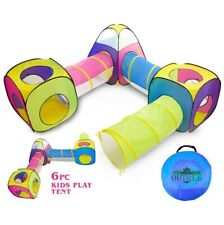 Outree 6pc Pop Up Children Play Tent 3 Crawl Tunnels 3 Tents Indoor Outdoor