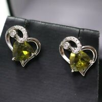Trillion Green Peridot Heart Earrings Wedding Anniversary Solid Sterling Silver