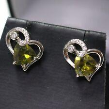 Trillion Green Peridot Heart Earrings Wedding Anniversary 925 Sterling Silver