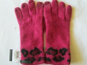 Coach Cranberry Pink Chepoard Ocelot Touch Gloves Women, NEW