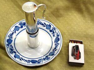 Bierwärmer Getränkewärmer mit Halter versilbert Zwiebelmuster Porzellan #P1002v