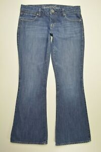 American Eagle REAL FLARE Size 6 Womens BOHO Med Wash Denim LOW RISE Blue Jeans