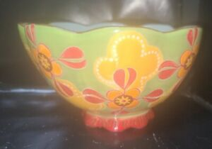 Dutch Wax Footed Bowl By Coastline Imports Hand Painted Ceramics SOUP CEREAL