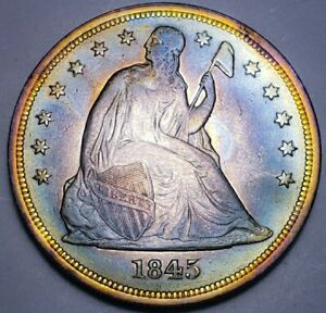 RARE 1845 Seated Liberty 1$ One Dollar SHARP DETAILS. 104