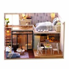 Doll Miniature Wooden House Studio Kit LED Light Furniture DIY Handcraft Toy USA