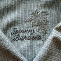 Mens Large Tommy Bahama 100% Silk Camp Shirt Hawaiian Light Turquoise Blue EUC