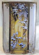 GOEBEL HANDMADE ART GLASS TEALIGHT - WINTER BY ALPHONSE MUCHA - TEA LIGHT 8540