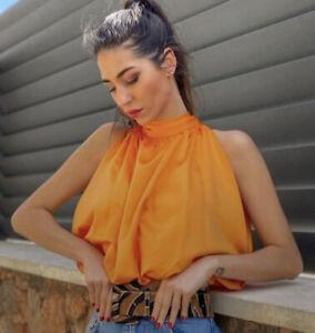 Zara Orange Satin Tie Neck Top Size M BNWT Blogger Favourite Rare