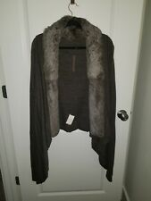 Rick Owens Lilies US12 IT46 Brown Fur Gray Knit Sweater w/ Extra Long Sleeves