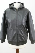 GAP Black Leather Hooded Jacket size L