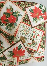 """1 Printed Fabric Tablecloth,60"""" Round,CHRISTMAS,WINTER EURO POINSETTIA BLOOM, VL"""