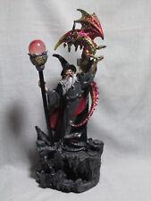 #30595 Zauberer mit Drache und Zauberstab mit LED-Wechsellicht Magier Fantasy