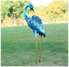 Metal Crane Statue Solar Light Garden Decor Bird Yard Art Sculpture Lawn Outdoor