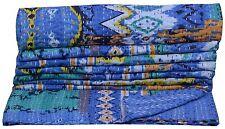INDIAN IKAT TWIN KANTHA BLUE QUILT BEDSPREAD THROW BLANKET VINTAGE IKAT DECOR
