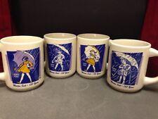Lot of 4 Vintage 1914 1921 1956 1968 Morton Salt Girl Coffee Cup Set mugs
