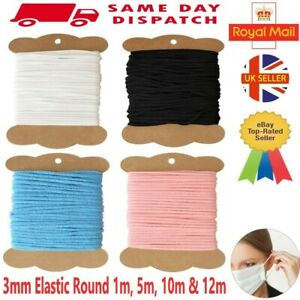 Elastic Cord 3mm Round Soft Crafts Sewing Face Masks  Bands  1m 5m 10m 12m