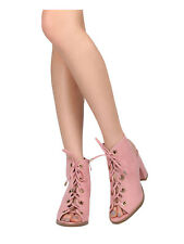 NEW Peep Toe Sandal Ankle Booties Scallop Eyelet Trim Lace Up Chunky Heel CutOut