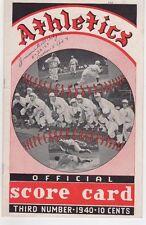 1940 Philadelphia A's vs. Boston Red Sox Program/Ted Williams/Jimmie Foxx Ex