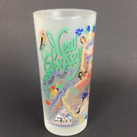 Catstudio 2004 New Jersey Frosted Glass Tumbler Landmarks Highball Barware